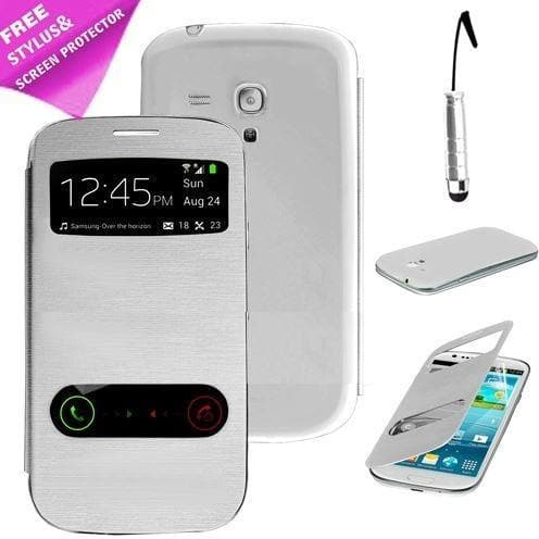 White Flip S View Pu Leather Case Cover For Samsung Galaxy S3 Mini I8190