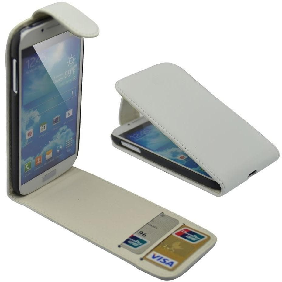 Samsung Cases - White Flip Wallet Leather Case For Samsung Galaxy S4 I9500