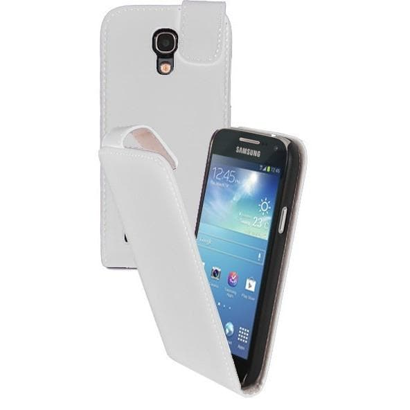 White Pu Flip Leather Case For Samsung Galaxy S4 Mini I9190