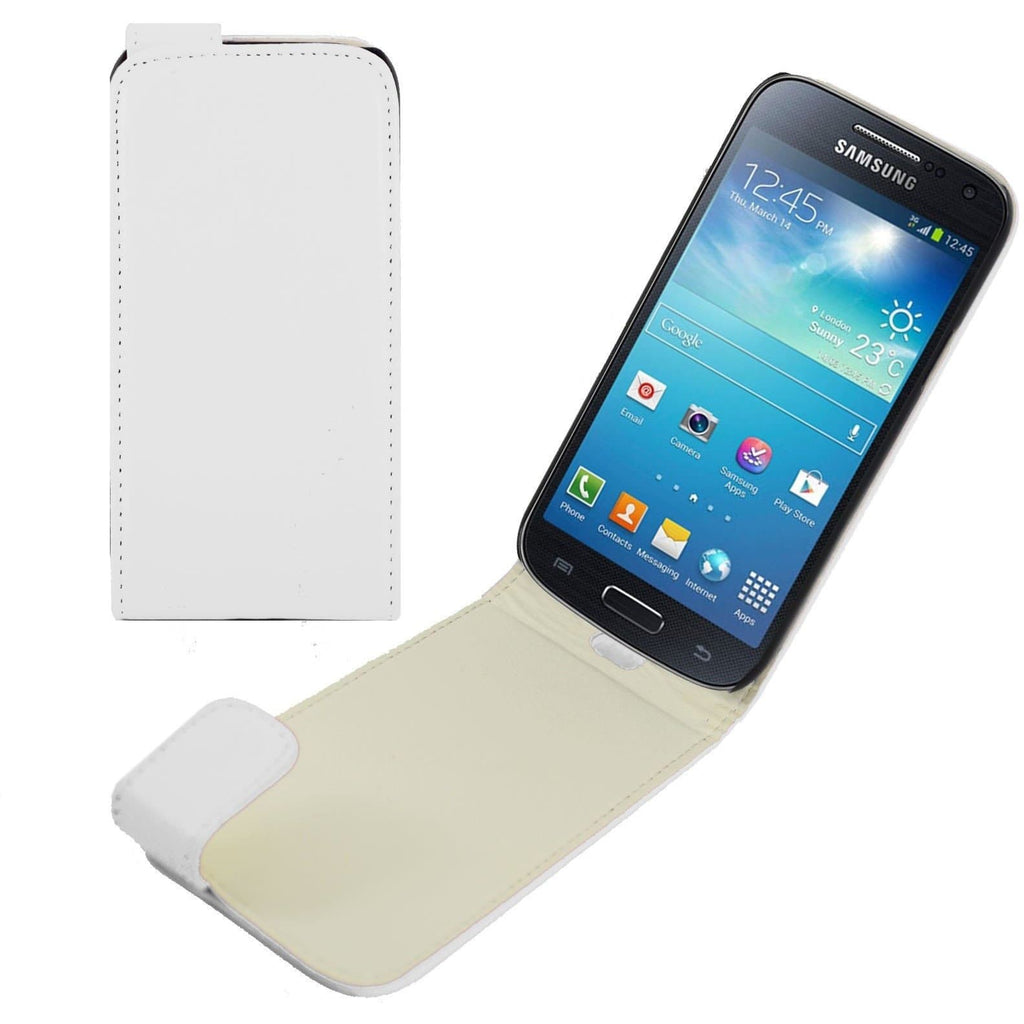 Samsung Cases - White Samsung Galaxy S4 Mini PU Leather Flip Case
