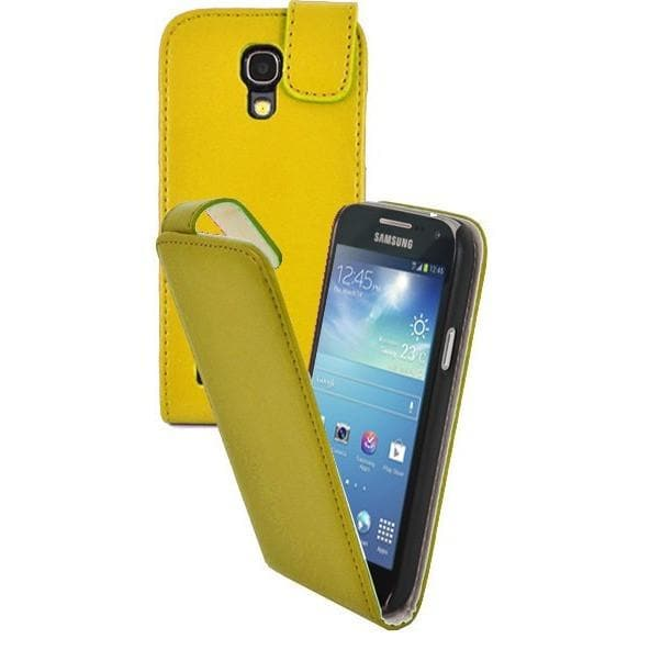 Yellow Pu Flip Leather Cover Case For Samsung Galaxy S4 Mini