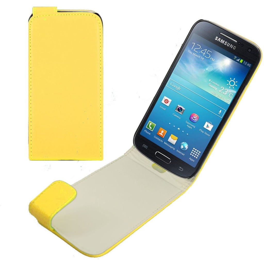 Yellow Samsung Galaxy S4 Mini PU Leather Flip Cover Case