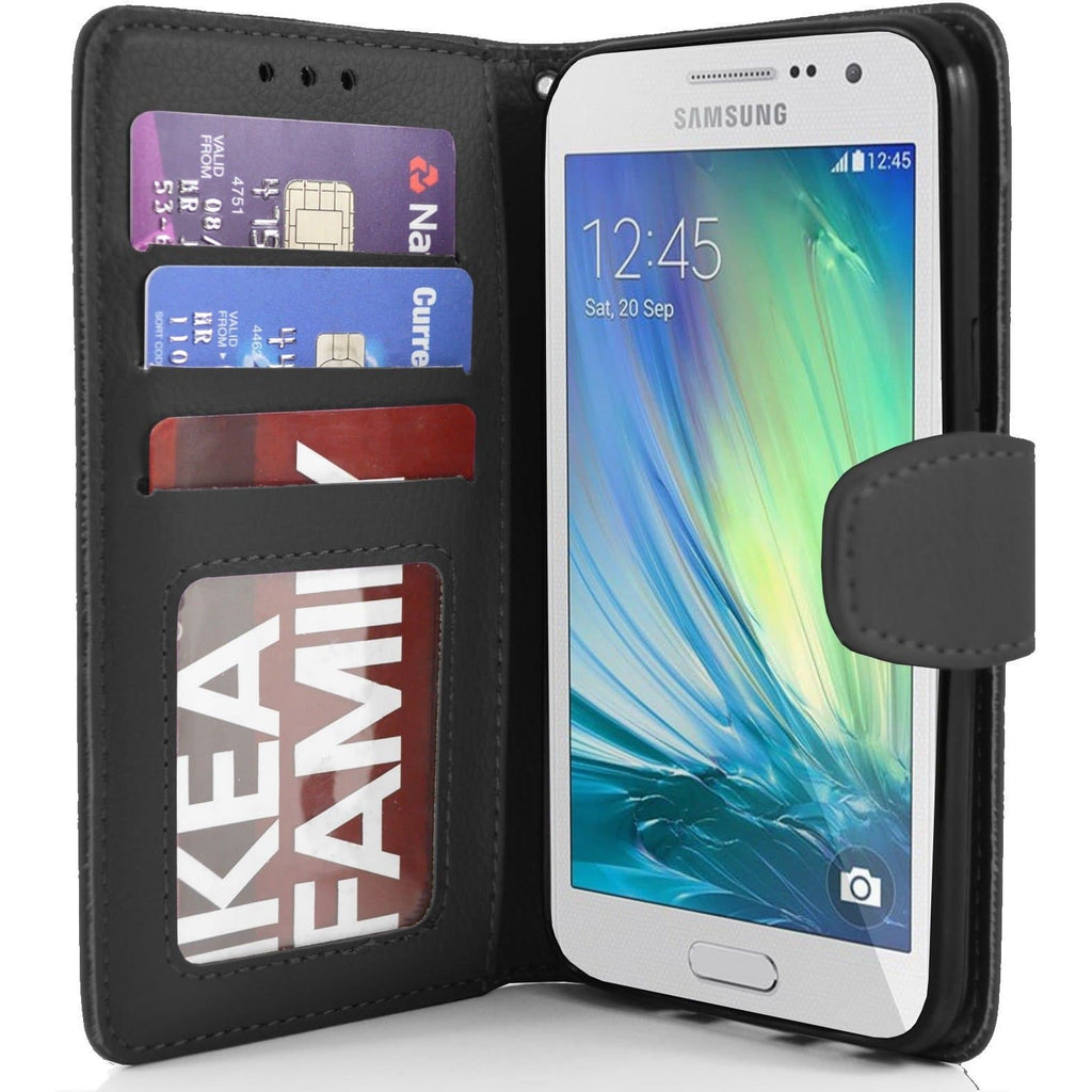 Samsung Galaxy A3 PU Leather Wallet Flip Case Cover - Black