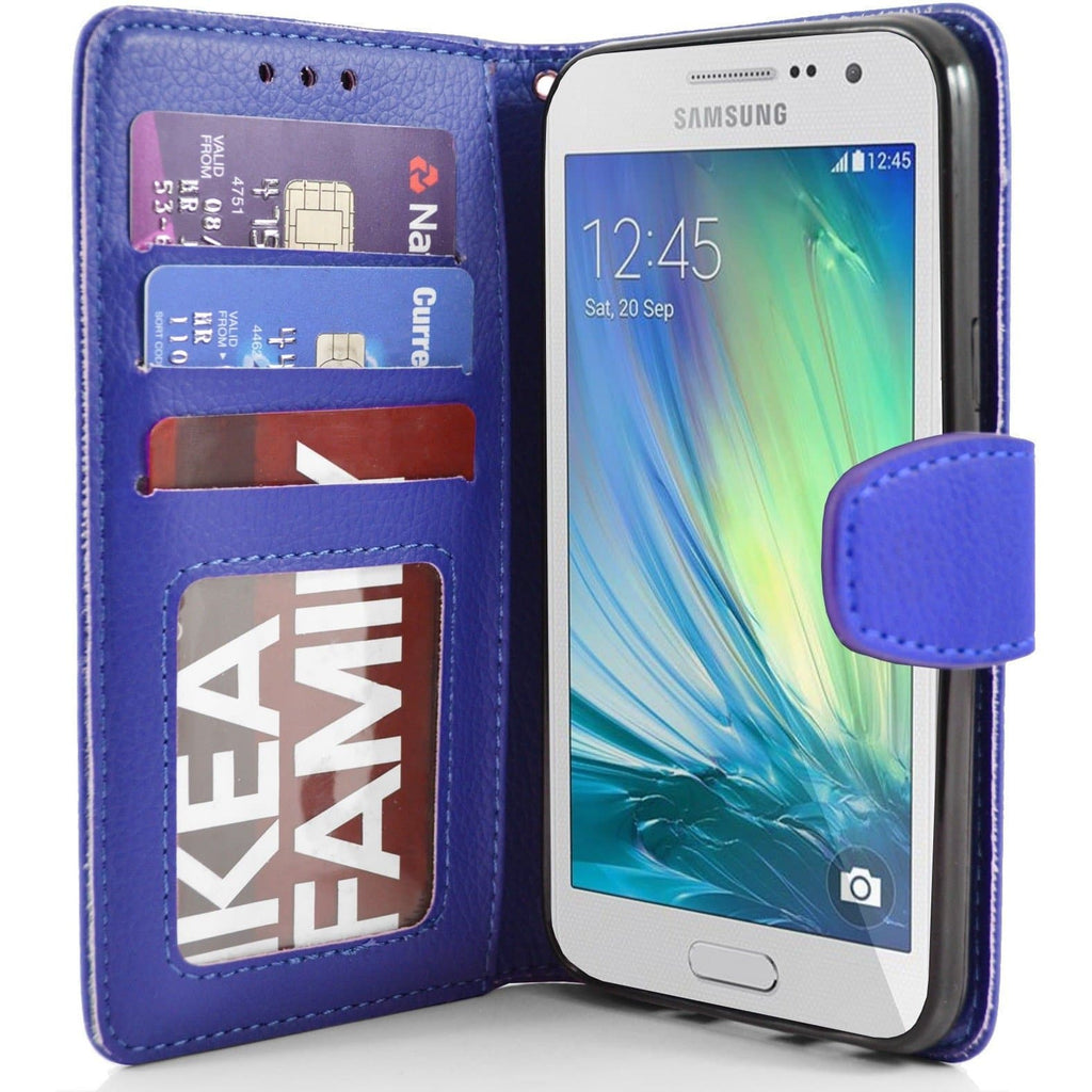 Samsung Galaxy A3 PU Leather Wallet Case - Blue
