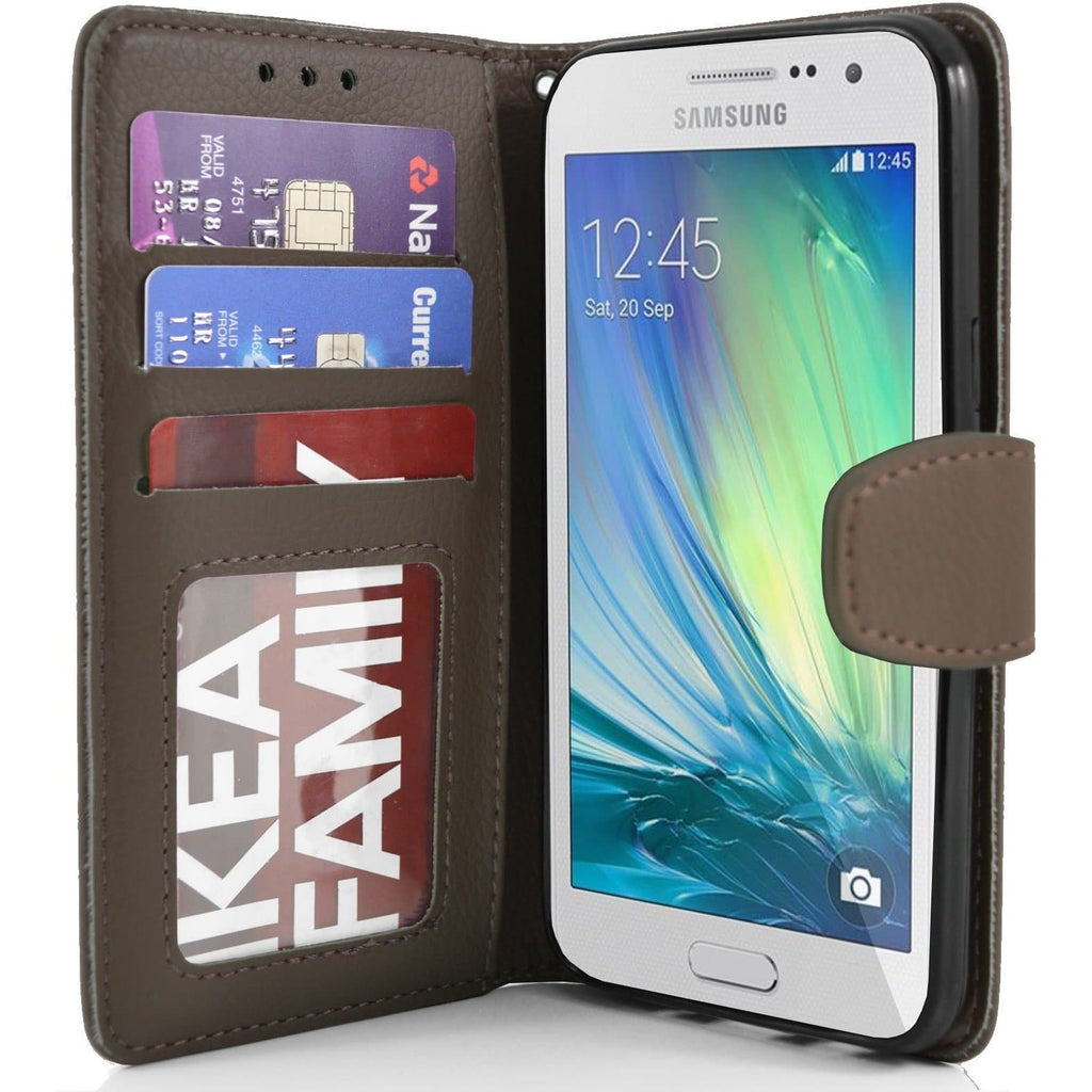 Samsung Galaxy A3 PU Leather Wallet Case - Brown