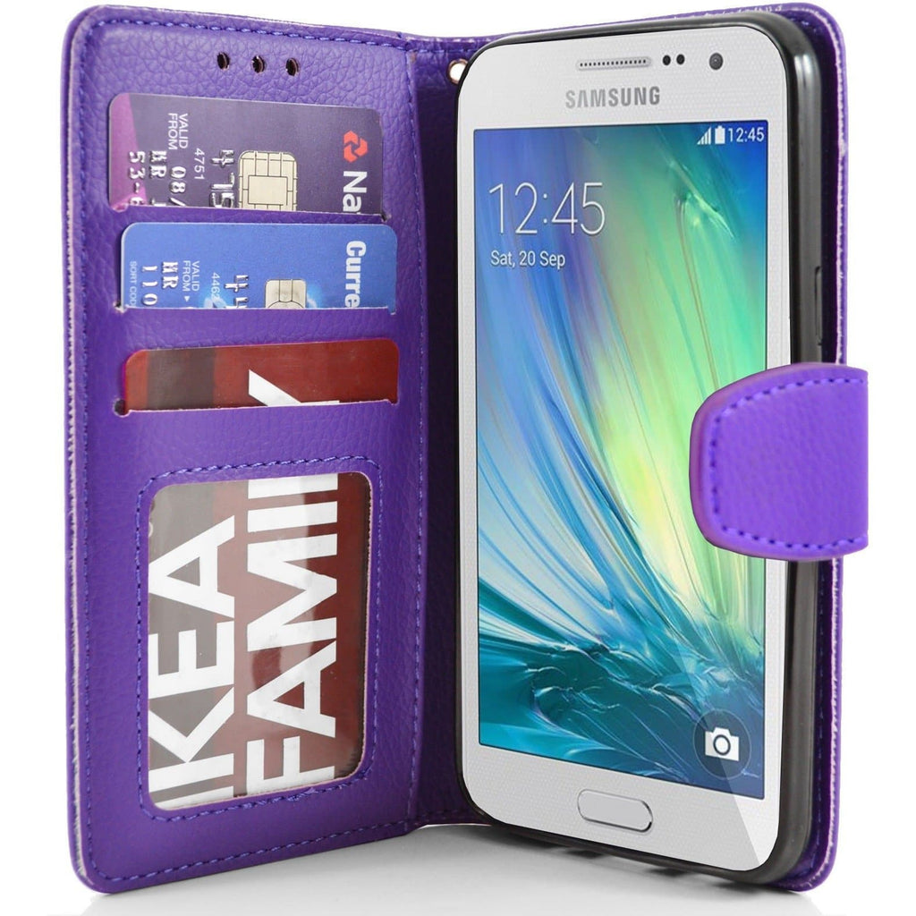Samsung Galaxy A3 PU Leather Wallet Case - Purple