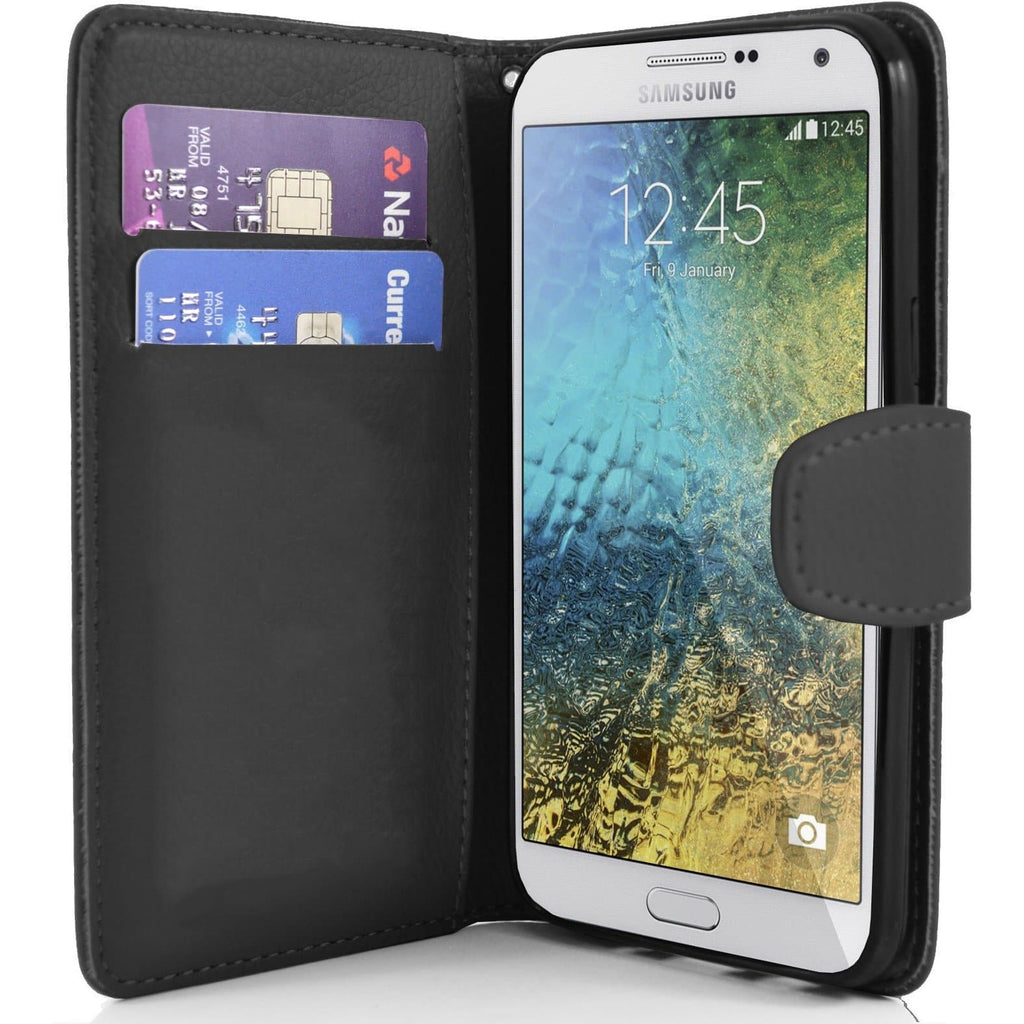 Samsung Galaxy E7 PU Leather Wallet Case - Black