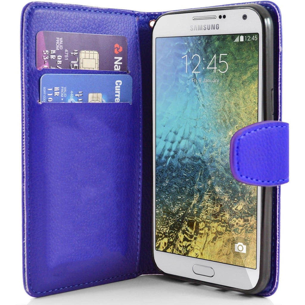 Samsung Galaxy E7 PU Leather Wallet Case - Blue