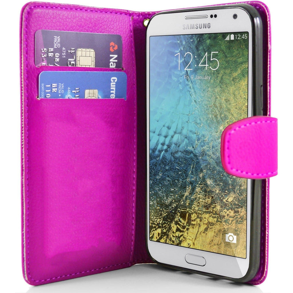 Samsung Galaxy E7 PU Leather Wallet Case - Pink