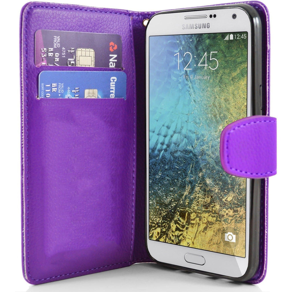 Samsung Galaxy E7 PU Leather Wallet Case - Purple