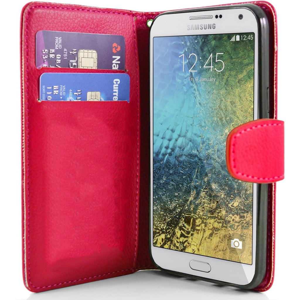 Samsung Galaxy E7 PU Leather Wallet Case - Red