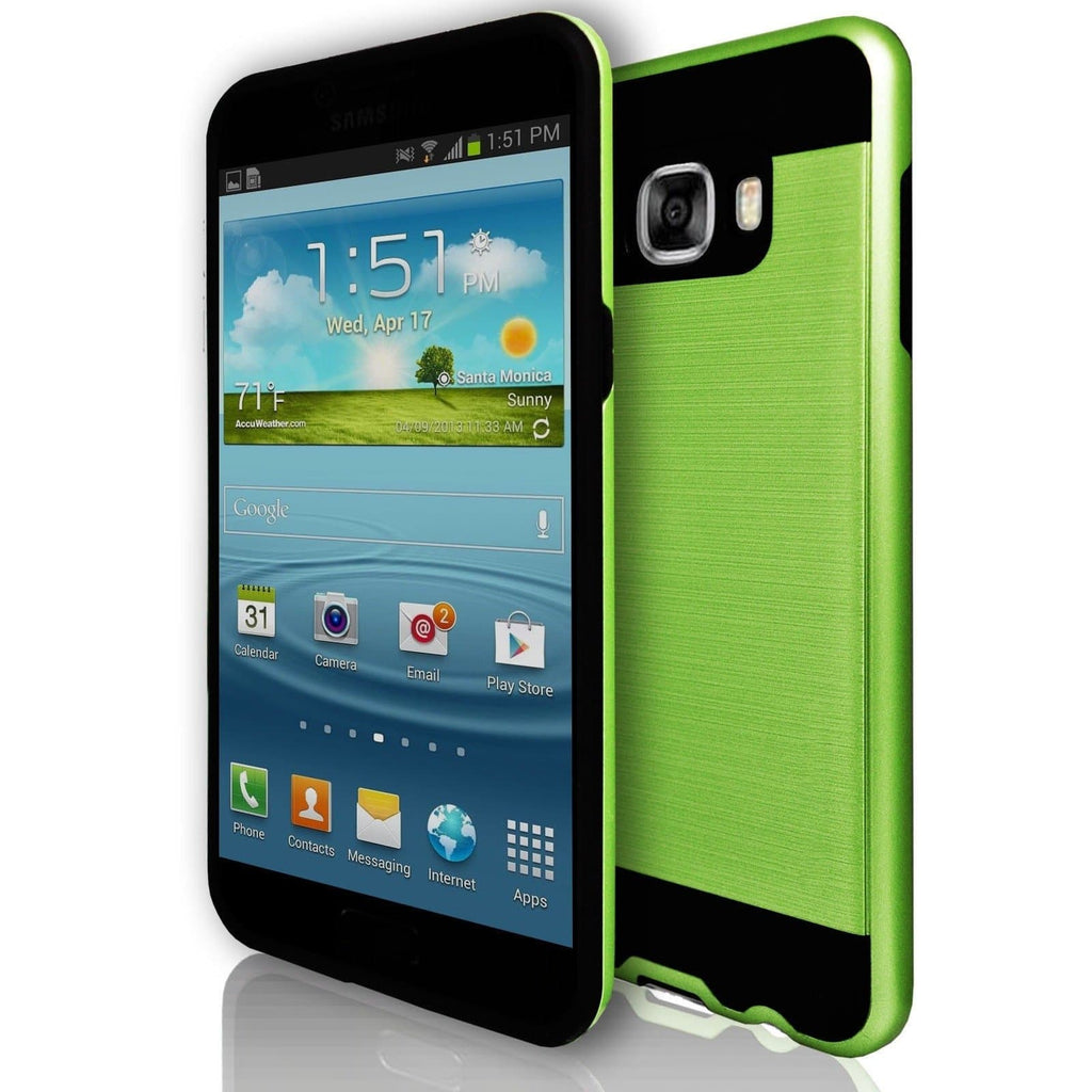 Samsung Galaxy C7 - Rugged Shock Proof Case - Lime Green