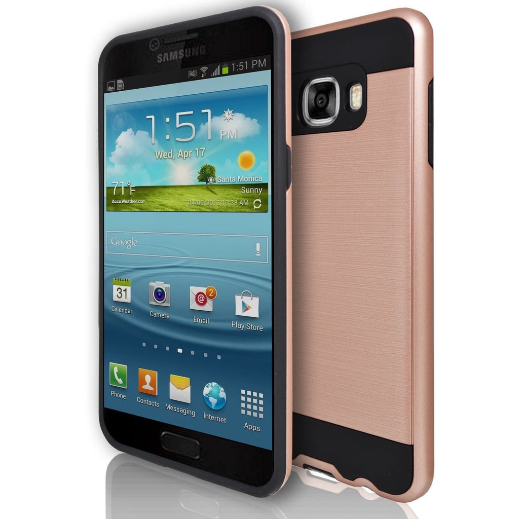 Samsung Galaxy C7 - Rugged Shock Proof Case - Rose Gold