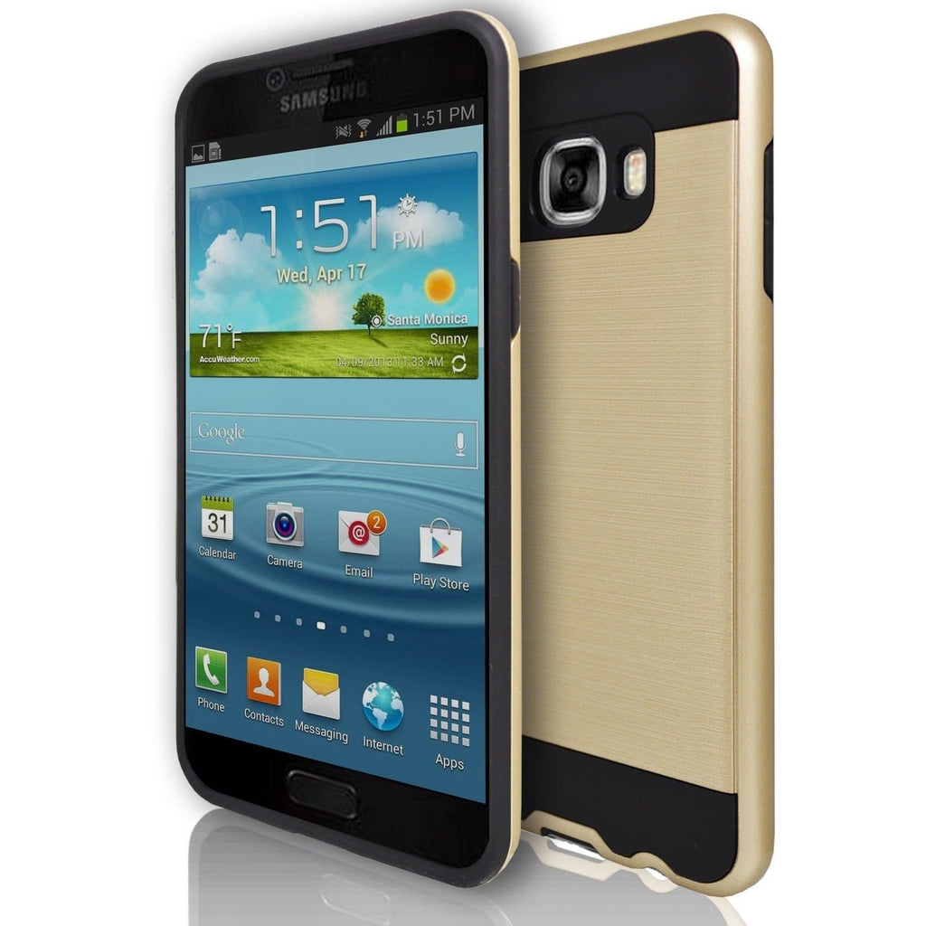 Samsung Galaxy C7 - Rugged Shock Proof Case - Gold