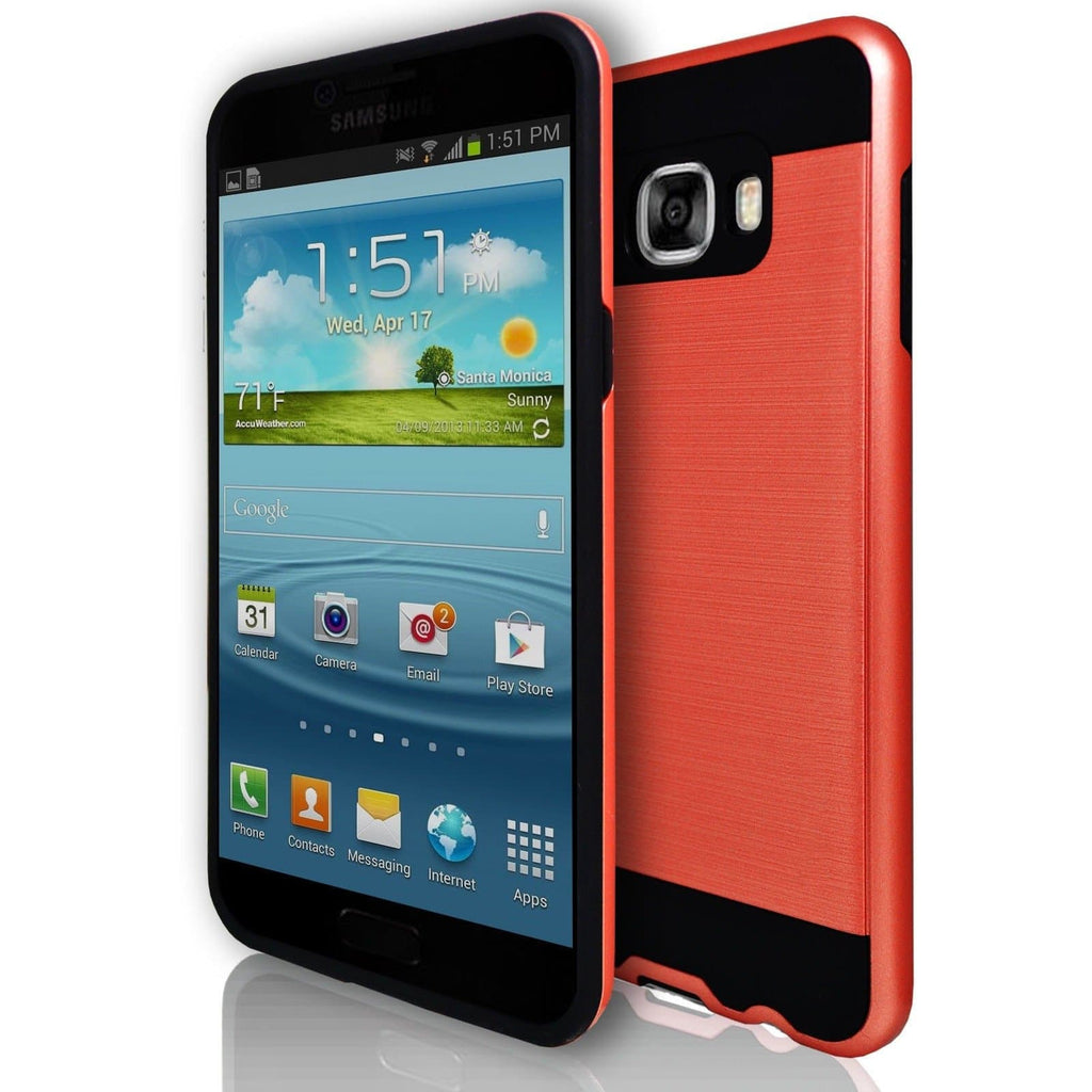Samsung Galaxy C7 - Rugged Shock Proof Case - Red