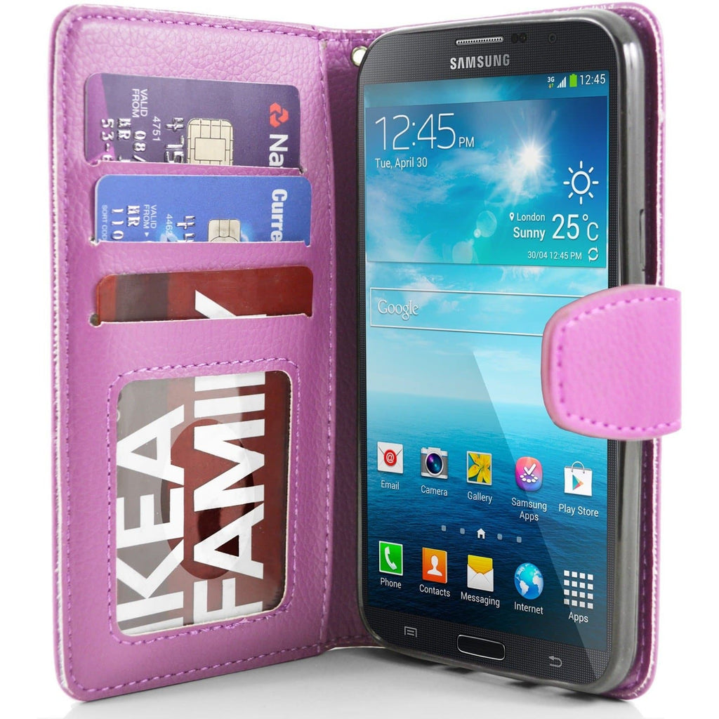 "Samsung Galaxy Mega 5.8"" PU Leather Wallet Case - Baby Pink"