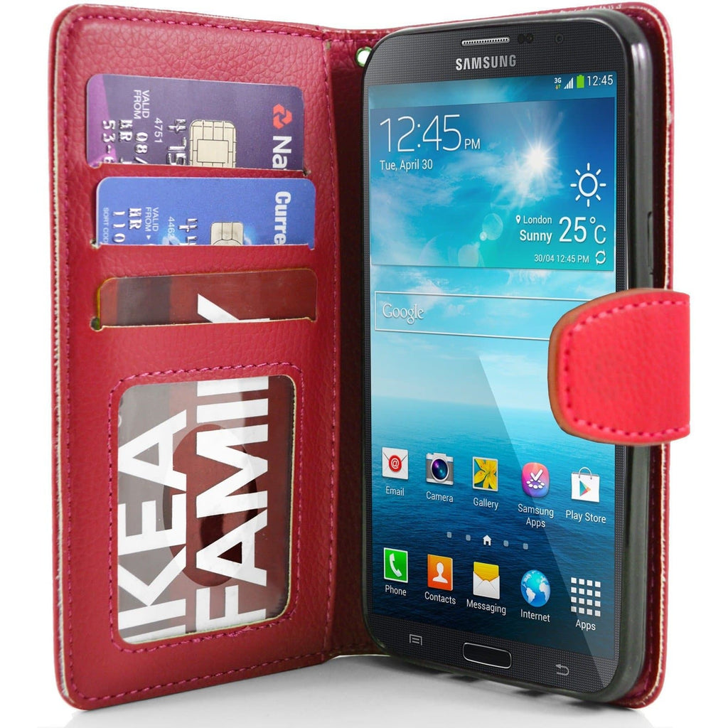 "Samsung Galaxy Mega 5.8"" PU Leather Wallet Case - Red"