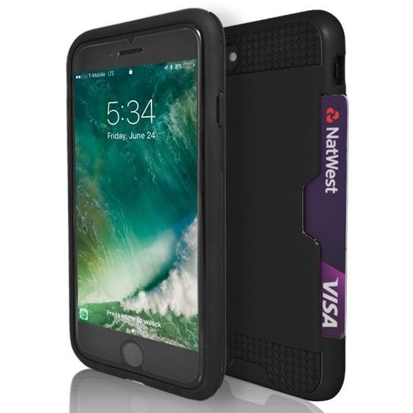 iPhone 7 Plus- Tough Protective Brushed Card Holder Silicone Case - Black