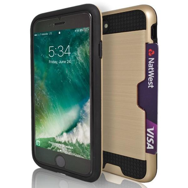iPhone 7- Tough Protective Brushed Card Holder Silicone Case - Gold
