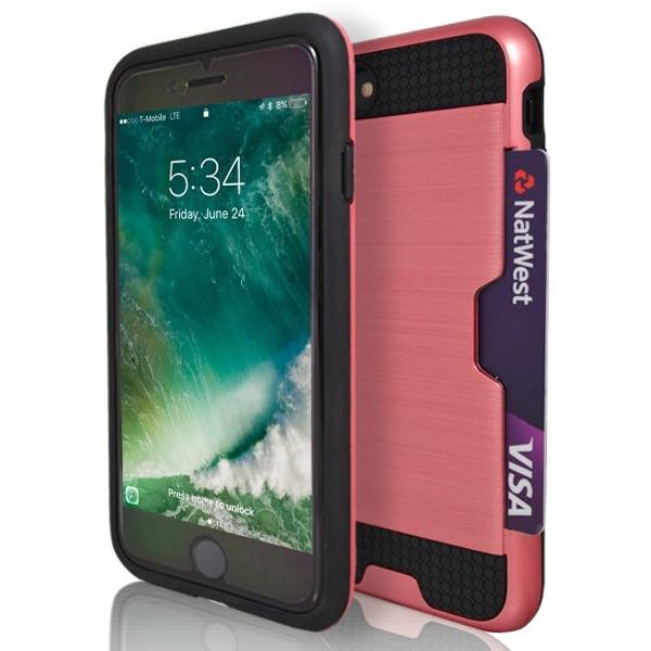 iPhone 7 Plus- Tough Protective Brushed Card Holder Silicone Case - Pink