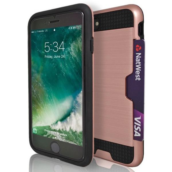 iPhone 7 Plus- Tough Protective Brushed Card Holder Silicone Case - Rose Gold