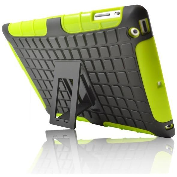 iPad Mini 1 / 2 / 3 - Hard Silicone Shock Resistant Standing Case - Black / Green