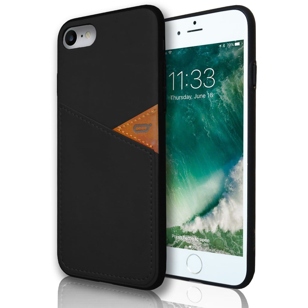 Apple iPhone 7 Plus Silicone Leather Wallet Case - Black
