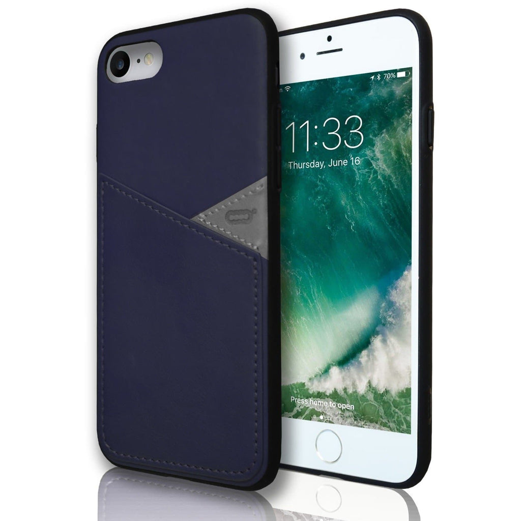 Apple iPhone 7 Silicone Leather Wallet Case - Blue