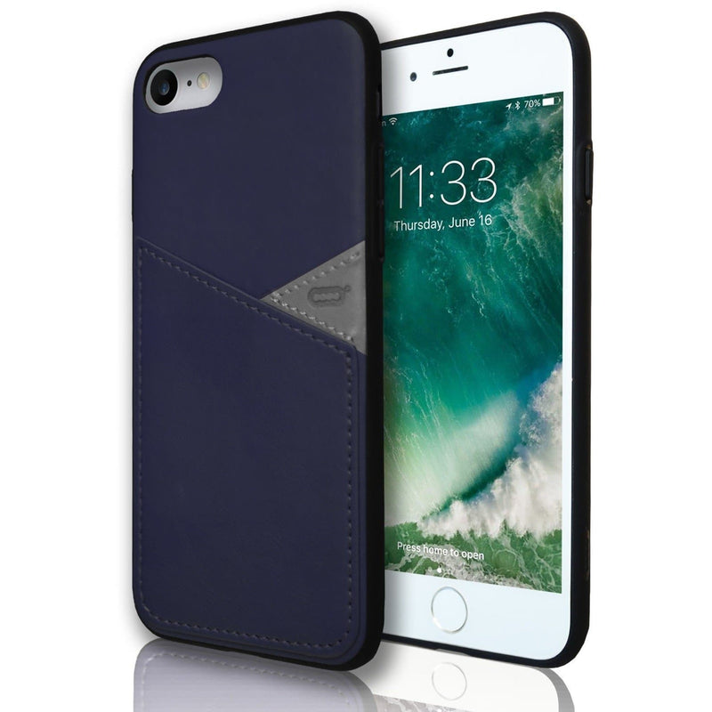 Apple iPhone 7 Plus Silicone Leather Wallet Case - Blue