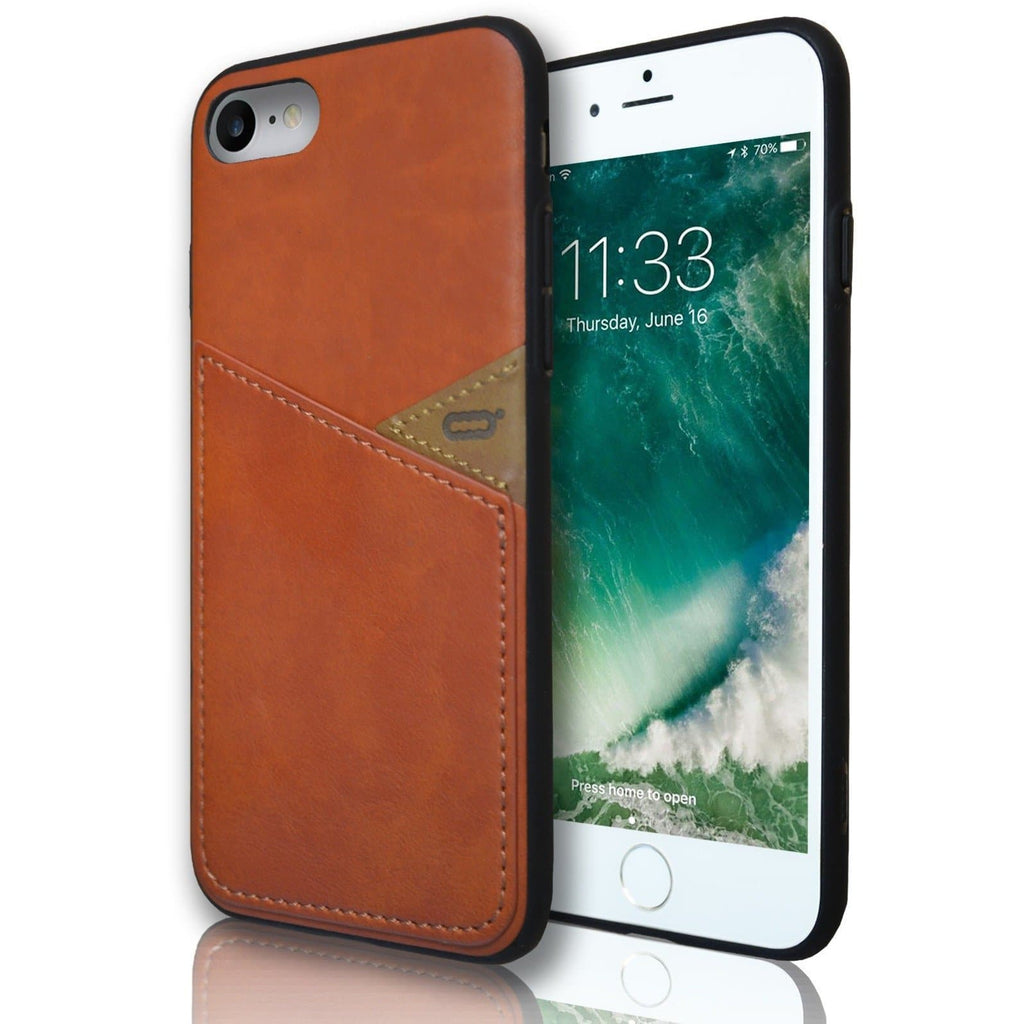 Apple iPhone 8 Plus Silicone Leather Wallet Case - Brown