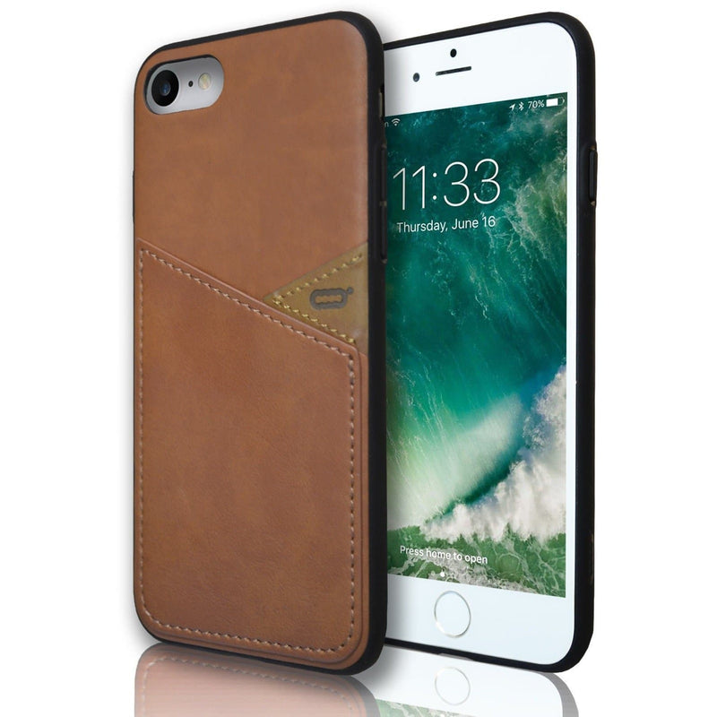 Apple iPhone 7 Silicone Leather Wallet Case - Light Brown