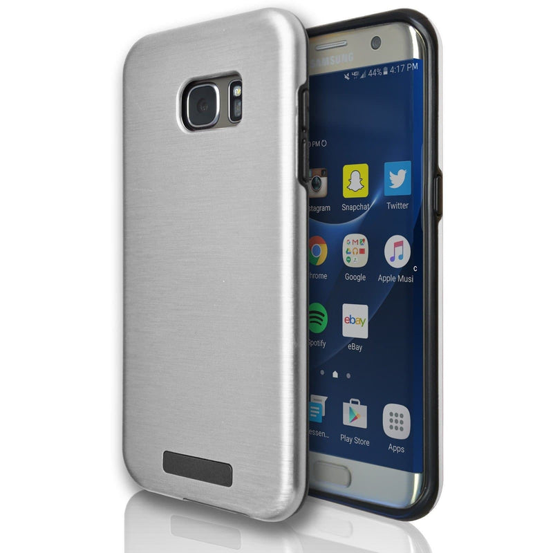 Samsung Galaxy S6 Edge Protective Brushed Silicone Case - Silver