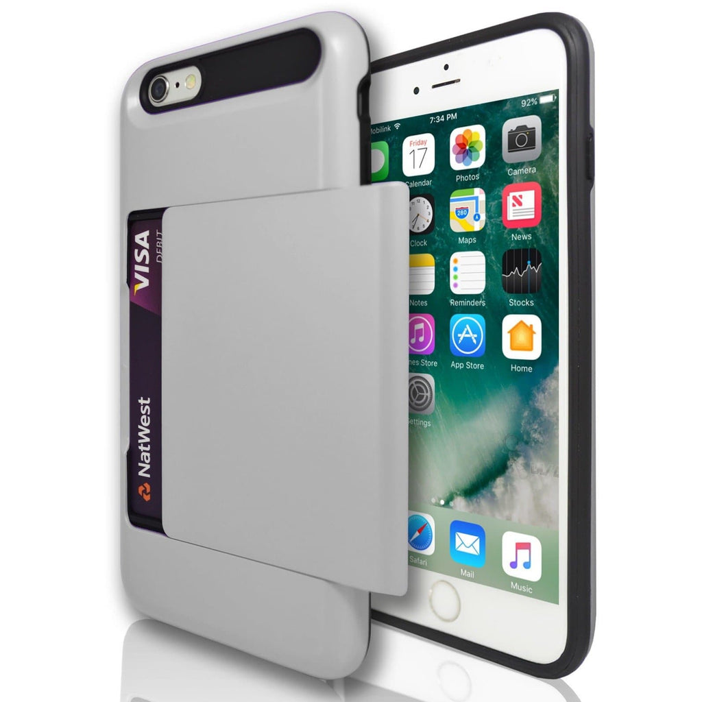 iPhone 6 Plus / 6S - Slide Out Card Holder Silicone Case- Silver