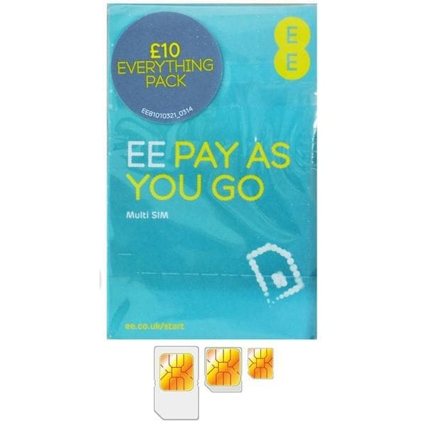 Sim Cards - EE Orange T-Mobile Nano/Micro/Standard Pay As You Go 3G 4G SIM Card Multi SIM.