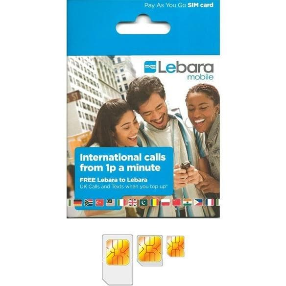 Lebara Nano / Micro / Standard Pay As You Go 3G SIM Card Trio Combi Multi SIM.