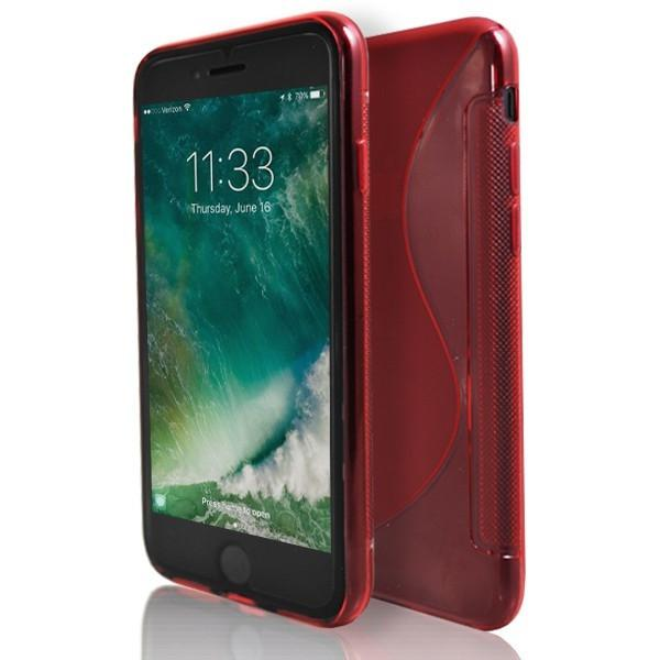 iPhone 7 Plus- Red S Line Gel Soft Silicone Case