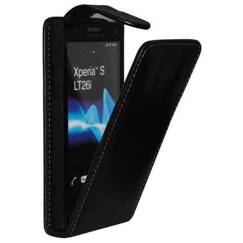 Black Flip Leather Case For Sony Ericsson Xperia S Lt26I
