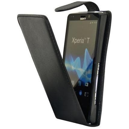 Black Flip Leather Case For Sony Ericsson Xperia T Lt30P
