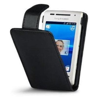 Black Leather Flip Case For Sony Ericsson Xperia X8