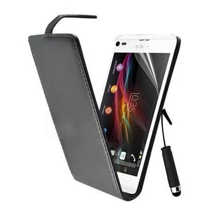 Black Pu Flip Leather Case For Sony Ericsson Xperia L