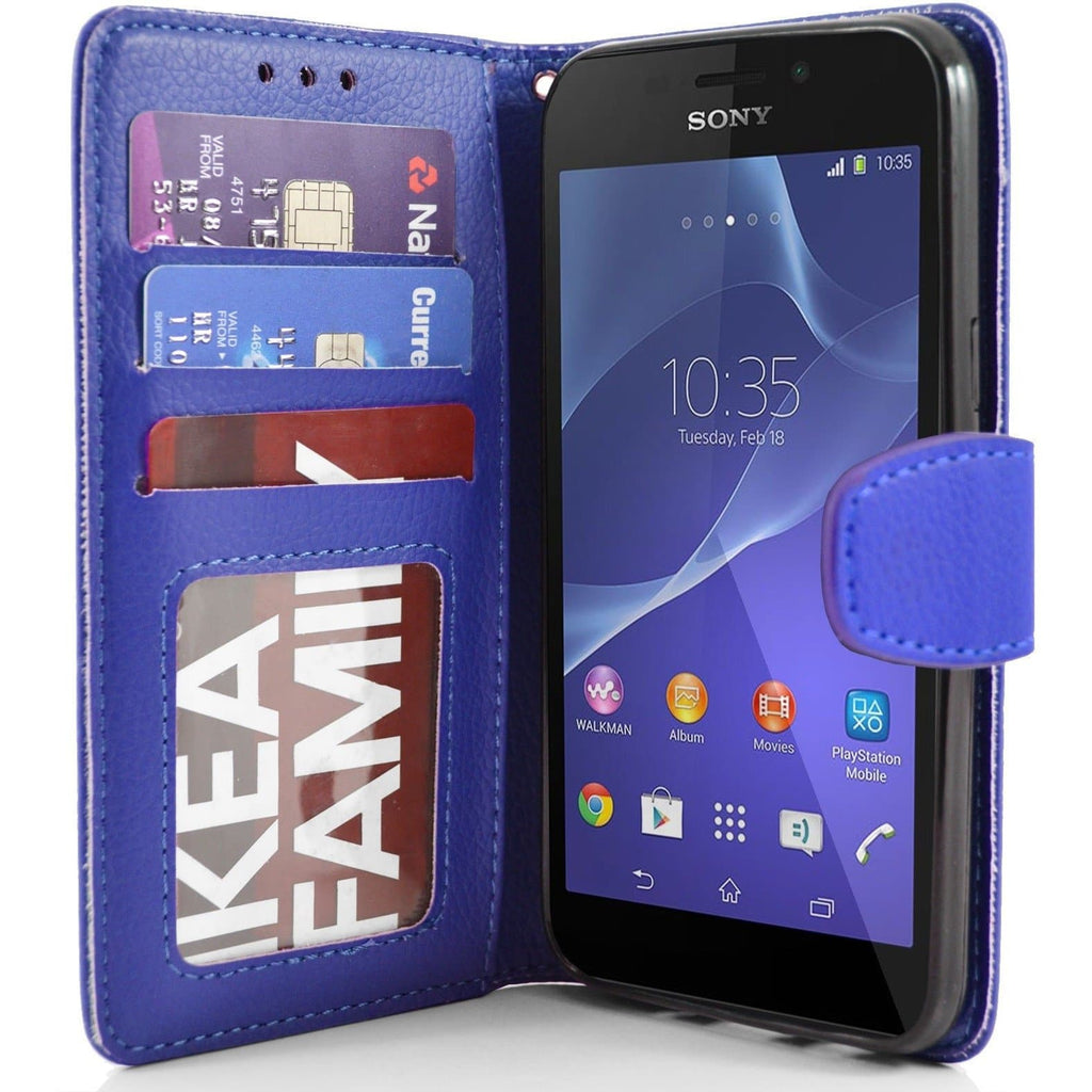 Sony Xperia M2 PU Leather Wallet Case - Blue