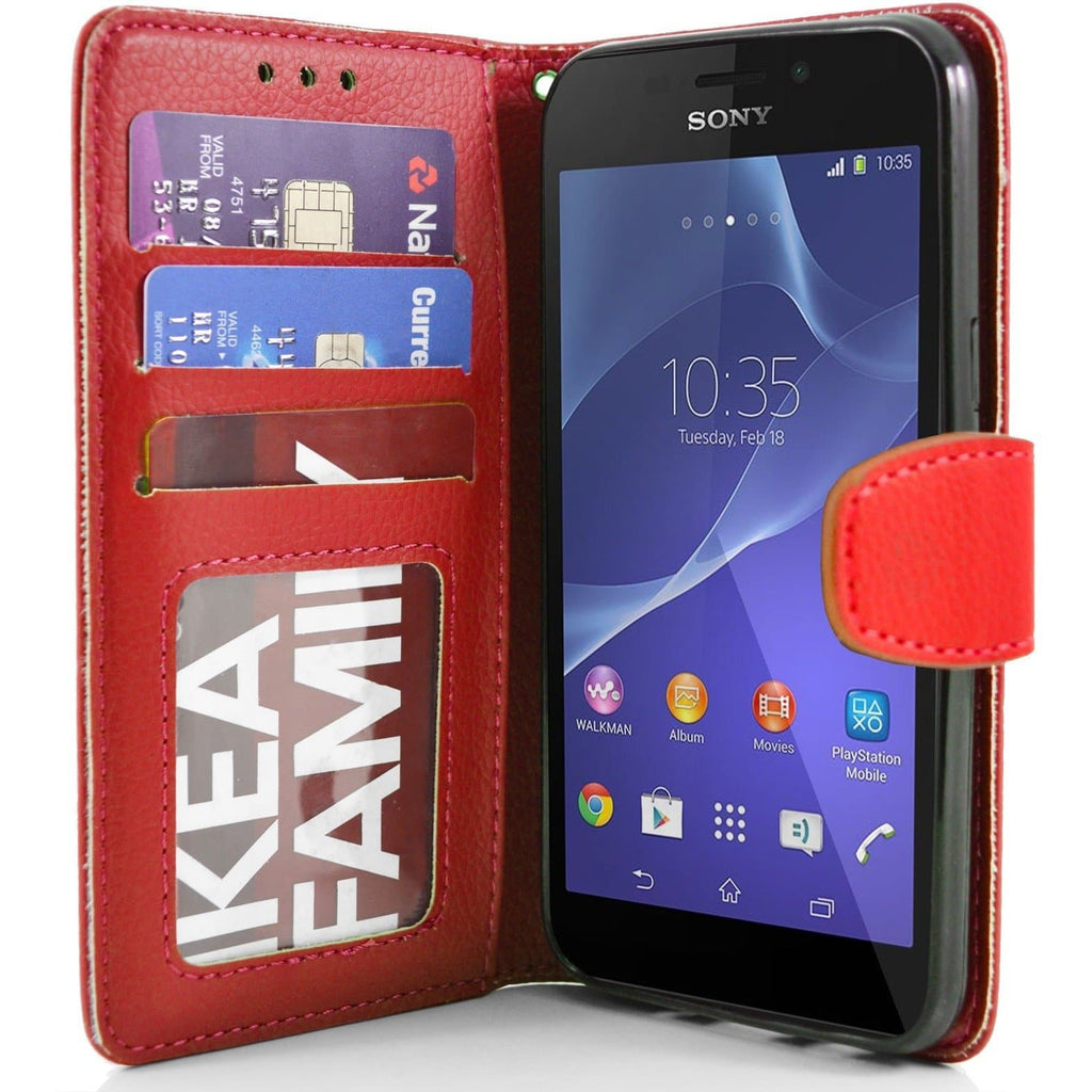 Sony Xperia M2 PU Leather Wallet Case - Red