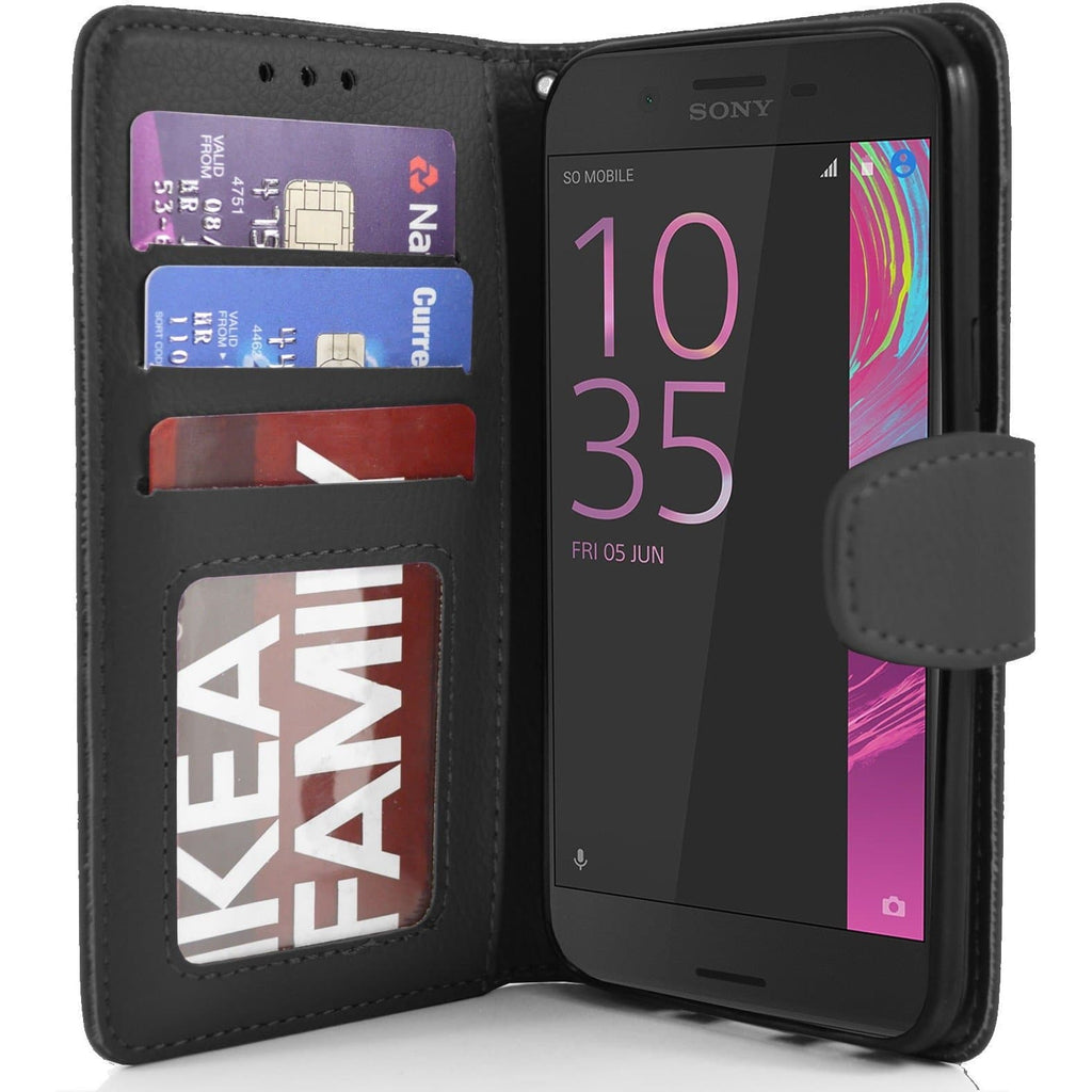 Sony Xperia X Performance PU Leather Wallet Case - Black