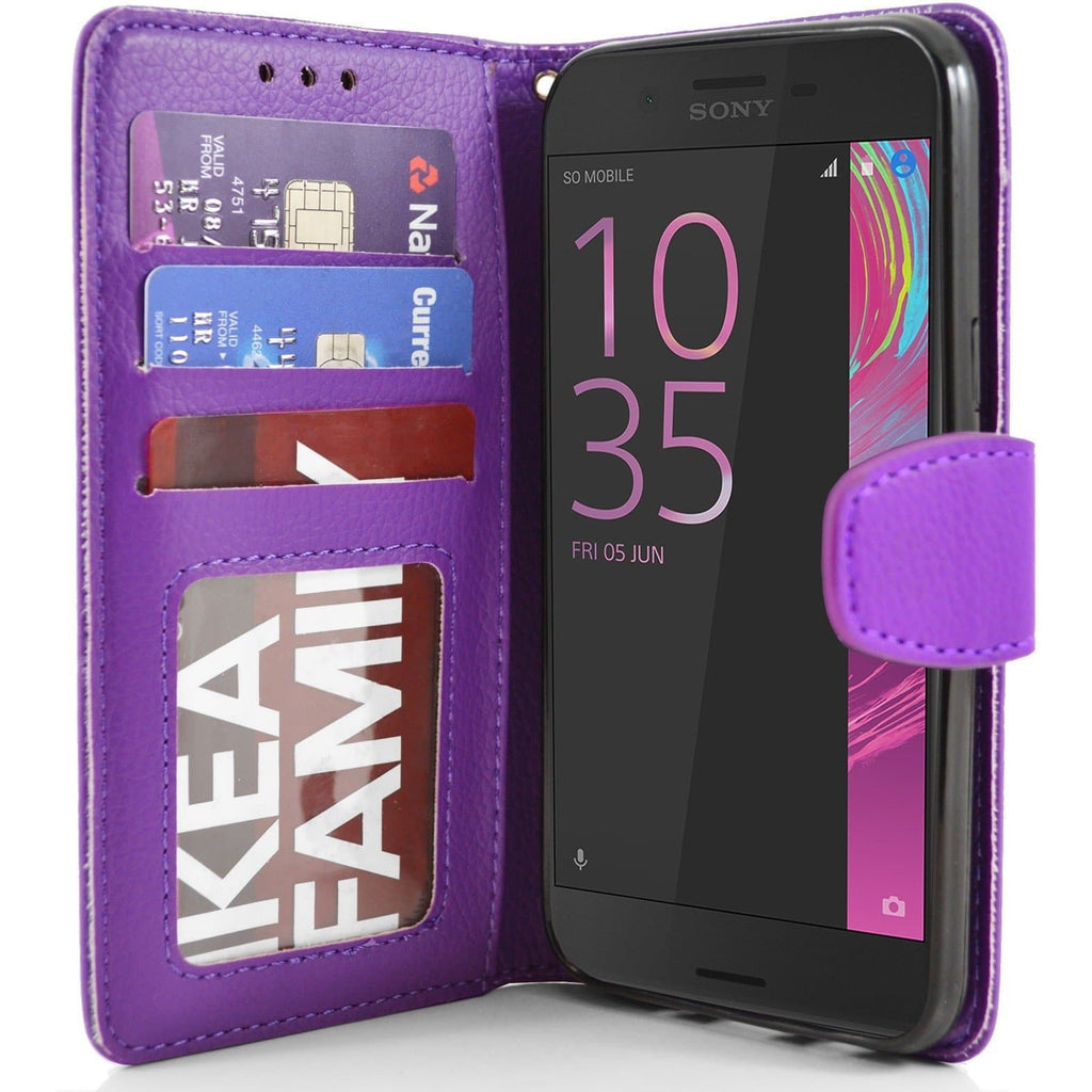 Sony Xperia X PU Leather Wallet Case - Purple