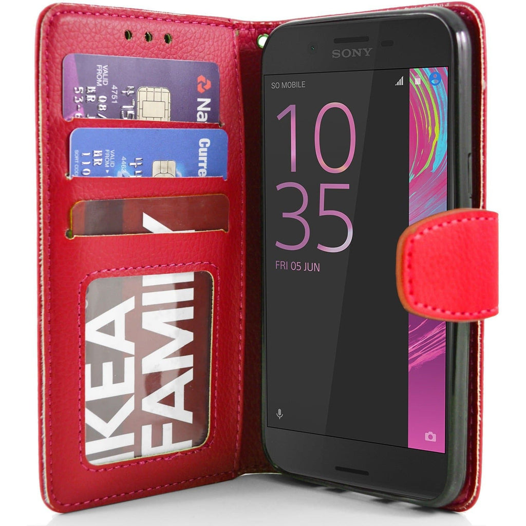 Sony Xperia X PU Leather Wallet Case - Red