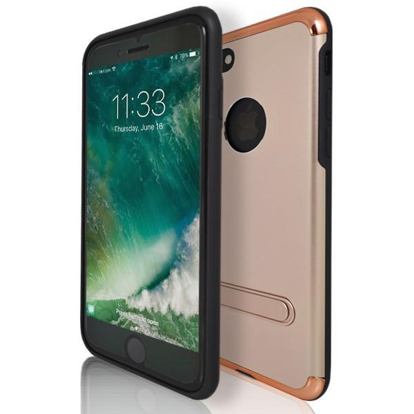 iPhone 7 Case- Flick Rear Stand Silicone Case With Apple Logo Hole - Rose Gold