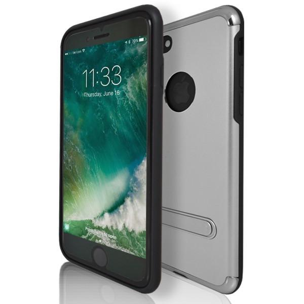 iPhone 7 Case- Flick Rear Stand Silicone Case With Apple Logo Hole - Silver