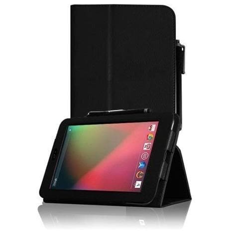 Tablet Cases - Black Leather Case Cover Stand For Asus Google Nexus 7 Tablet With Magnetic Sleep Wake Function