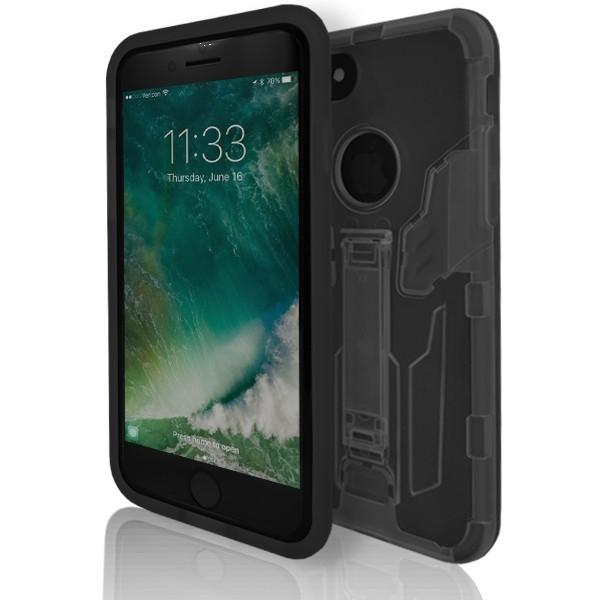 iPhone 7 Plus- Flick Rear Stand Silicone Case - Black