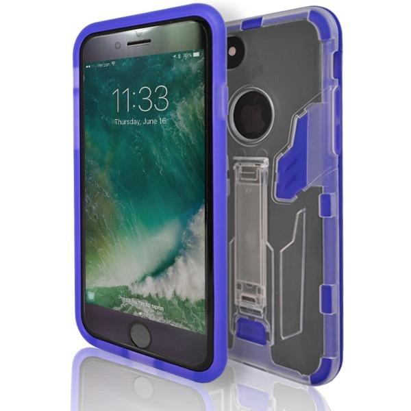iPhone 7 Plus- Flick Rear Stand Silicone Case - Blue